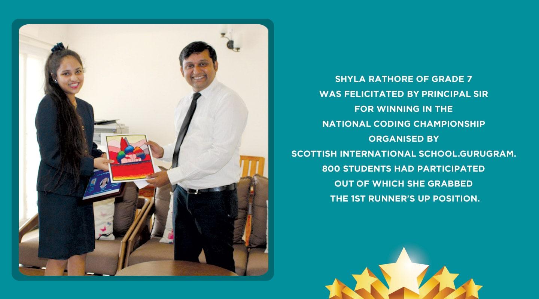 Shyla Rathore of Grade 7 was felicitated by Principal